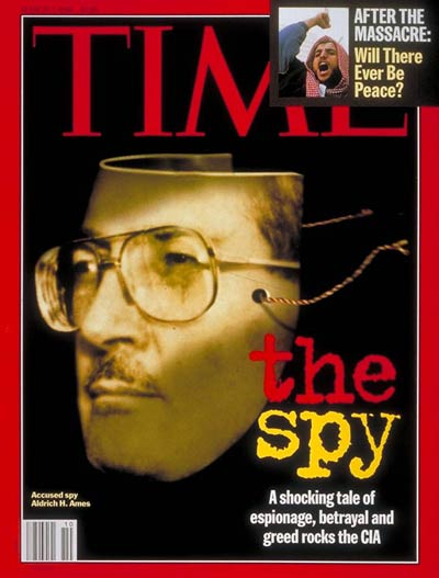 Spy Aldrich H. Ames. Photo illustration for TIME by Matt Mahurin from a photograph by Luke Frazza-AFP. Inset: Mid East unrest. Photograph by Jacqueline Arzt-AP.