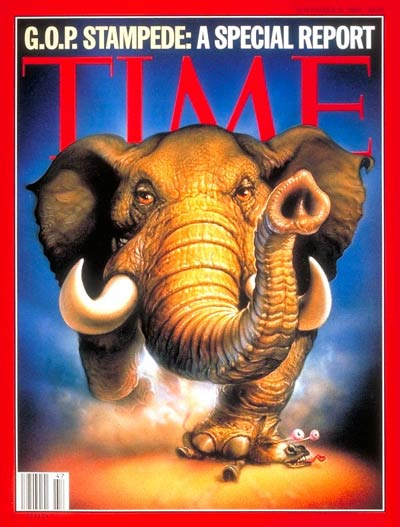 Stampeding elephant symbolizes overwhelming Republican victories in the national elections.