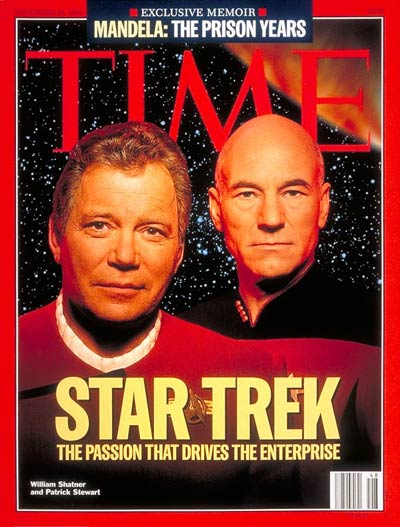 Star Trek.  On cover: William Shatner and Patrick Stewart posing together for the first time-photographed for TIME by Gregory Heisler. Star background for photomontage from JPL/NASA.