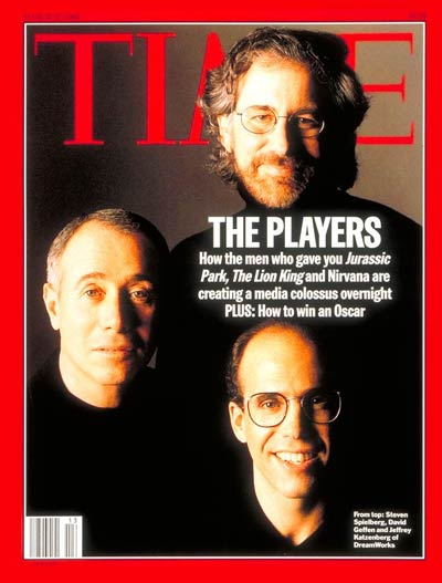 (clockwise from top) Steven Spielberg, Jeffrey Katzenberg &amp; David Greffen  DreamWorks.
