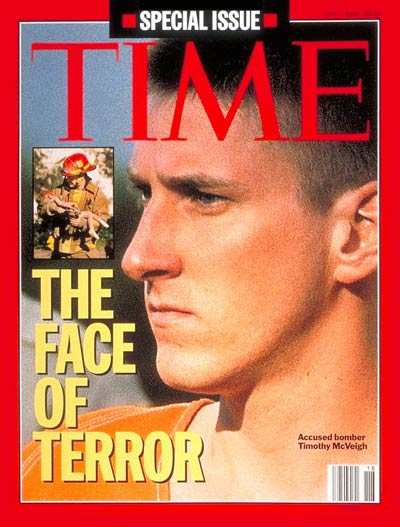 Oklahoma City terror bomber Timothy McVeigh, from SABA. Inset:  Oklahoma City fireman w. child's body by Charles H. Porter IV-Sygma.