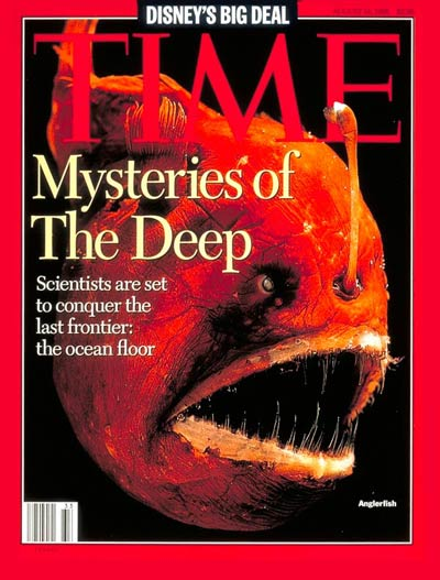 Mysteries  the Deep represented by  the deep water species Melanocetus, aka the anglerfish.