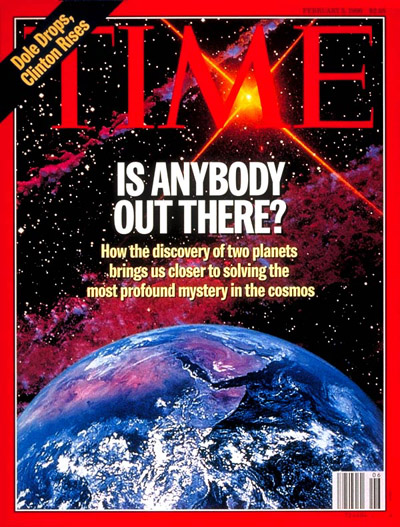 Is there life in Outer Space? (Astronomy &amp; the discovery of two new planets.)  Digital photomontage. Illustration by Seth Shostack-SETI Institute; Earth by NASA.