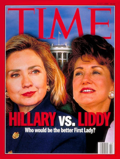 Hillary Clinton and Elizabeth Dole.  Digitally altered photomontage. Hillary by Jeff Christensen-SIPA PRESS; Liddy for TIME by Brooks Kraft-Sygma; White House by Jon Ortner-Tony Stone Images