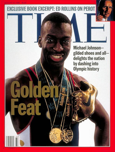 Track Gold Medalist Michael Johnson. Inset: Photograph for TIME by Brooks Kraft-Sygma