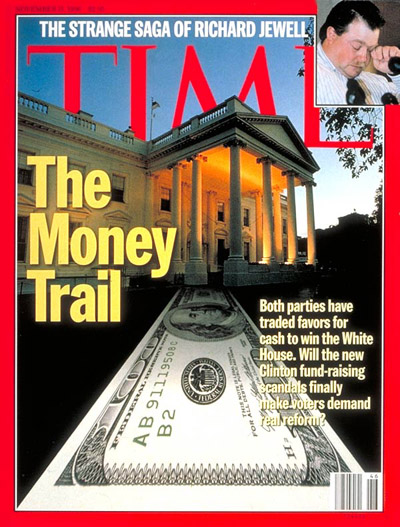 On The Money Trail. Digital photomontage. White House from Woodfin Camp. Inset: Photograph by Doug Collier-AFP.
