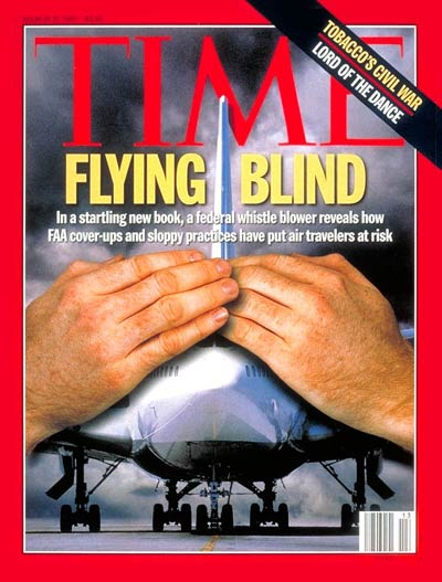 Flying Blind' Are FAA cover-ups and sloppy practices endangering air travelers? Digital photomontage by Arthur Hochstein. Plane by Mark Wagner-Tony Stone Images; hands by Ted Thai; background by Lorentz Gallachsen-Tony Stone Images.