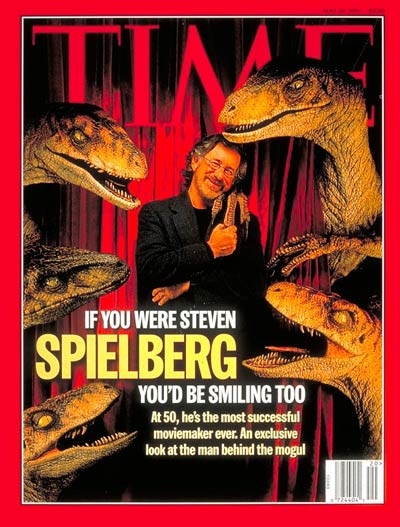 Steven Spielberg posing with velociraptors from 'The Lost World: Jurassic Park.'