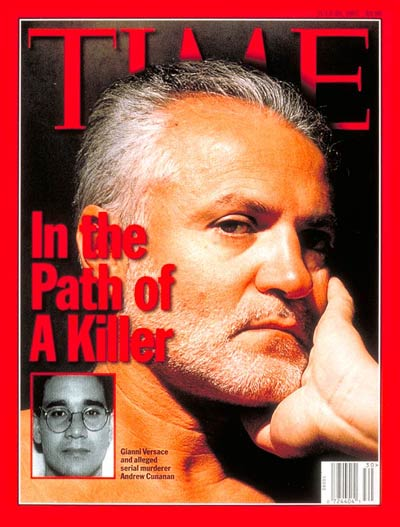 The death of Gianni Versace. Inset: alleged serial murderer Andrew Cunanan from the FBI via AP.