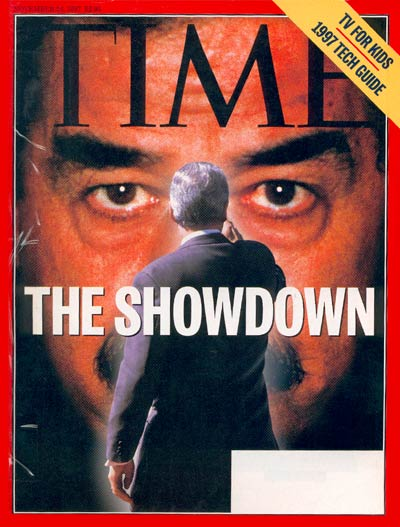 The showdown between President Clinton and Saddam Hussein over U.N. inspections. Saddam photo by Viennareport/Sygma. Clinton photo for Time by Cynthia Johnson.