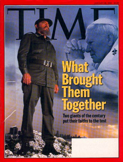 Dual exposure  Cuban leader Fidel Castro &amp; Pope John Paull II; Castro from Sygma, Pope by L'Osservatore Romano.