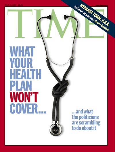 Knotted stethoscope used to symbolize problems in the health care industry.