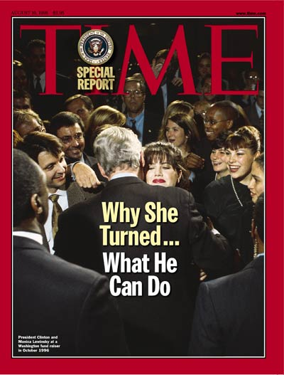 TIME Magazine Cover: Monica Lewinsky & Bill Clinton -- Aug. 10, 1998