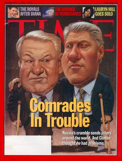 TIME Magazine Cover: Boris Yeltsin & Bill Clinton -- Sep. 7, 1998