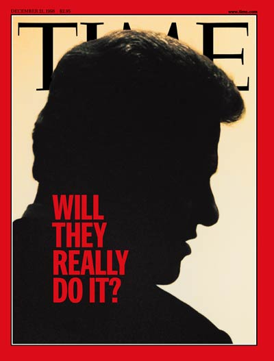 THEY REALLY DO IT? with a silhouette of Pres. Bill Clinton. Photograph for TIME by Cynthia Johnson.