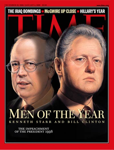 Pres. Bill Clinton &amp; Special Prosecutor Kenneth Starr as 'Men of the Year.'