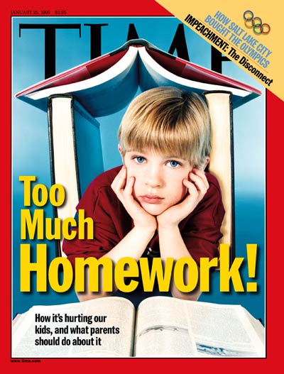 time magazine cover too much homework jan 25 1999