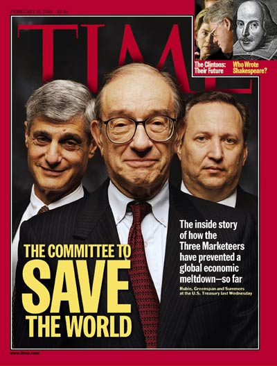 Federal Reserve Board chmn. Alan Greenspan (C) flanked by Treasury Secy. Robert Robin & Deputy Treasury Secy. Lawrence Summers. Inset:s: The Clintons by Doug Mills-AP; engraving  Shakespeare by Martin Droeshout-Granger Collection
