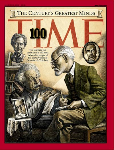The Greatest Minds of 20th Century'. Albert Einstein in therapy session w. Sigmund Freud.  Century's Greatest Minds.  by Mark Summers (Media Banks).