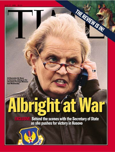 Secretary  State Madeline Albright. Inset: Jar Jar Binks by Lucasfilm Ltd.