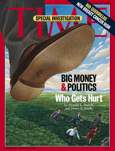 Big Money & Politics. Giant shoe about to crush tiny people re. big money buying political power to the detriment of the general public. Illustration by Mark Hess.