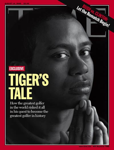w. logo & pic  Tiger Woods. Photograph for TIME by Herb Ritts.
