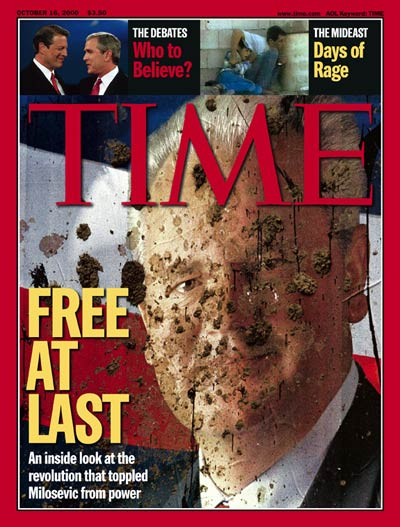 Mud spattered portrait of deposed Serbian leader Slobodan Milosevic, from Sygma-Corbis. Inset: Al Gore & George Bush by Steve Liss & unrest in the Mideast from France 2 via AP