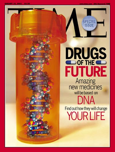 Double helix  pills in bottle represent drugs of  the future