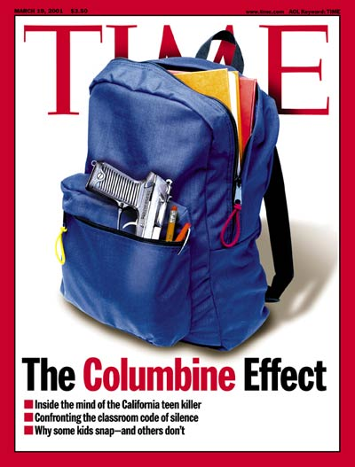 A student's backpack containing a hand gun re school violence. Digital illustration for TIME by Arthur Hochstein. Gun by Dennis Chalkin.