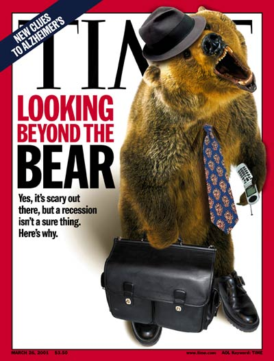 Looking Beyond the Bear' Roaring bear w. briefcase & tie re bear market in stocks. digital  by Arthur Hochstein, bear by Daniel J. Cox.