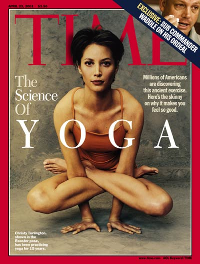 Model Christy Turlington demonstrating yoga position in photo. Inset: of submarine commander Scott Waddle by Steve Liss.