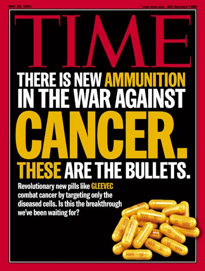 Yellow capsules of the medicine Gleevec, symbolizing ammunition to fight the war against Cancer