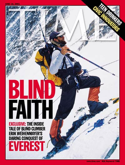Blind mountain climber Erik Weihenmayer climbing Mt. Everest