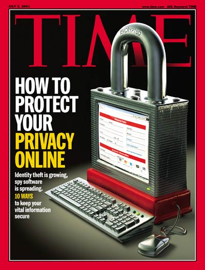 A computer monitor the shape  a large padlock representing online security and safety.  Illustration for TIME by Joe Zeff.