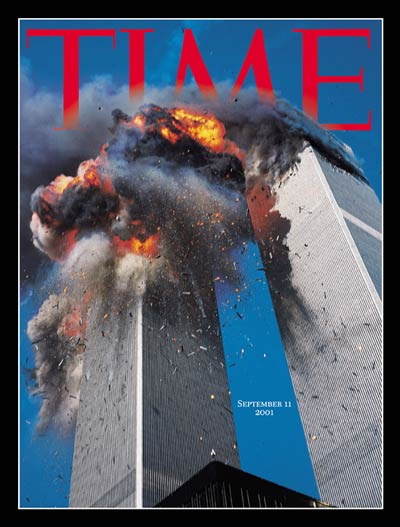Special issue on the terrorist attacks showing the twin towers of the NYC World Trade Center in flames after highjacked passenger jets slammed into them