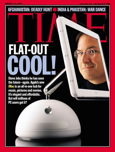 Computer whiz Steve Jobs and his newest creation, the iMac computer