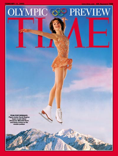 Olympic ice skater Sarah Hughes over the Rocky Mountains. (Gold medal-winning figure skater.) Digital photomontage. Hughes by Andrew Eccles; Rockies by Richard Cummins/Corbis.