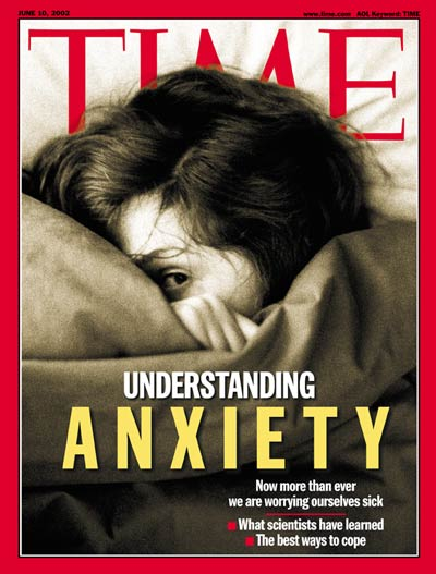 Anxiety depicted by cringing woman
