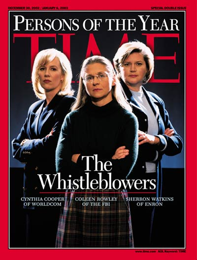 Whistleblowers (L-R) Cynthia Cooper  Worldcom, Colleen Rowley of the FBI & Sherron Watkins of Enron