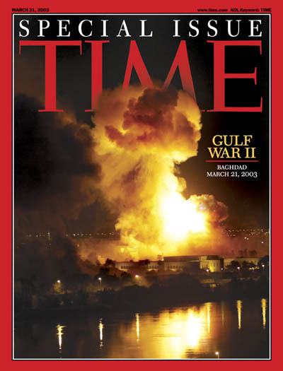 Night time bombing of Baghdad on March 21, 2003 at the beginning of Operation Iraqi Freedom.