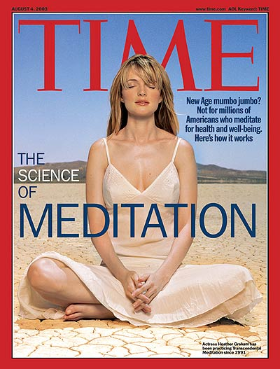 Actress Heather Graham practicing trancendental meditation