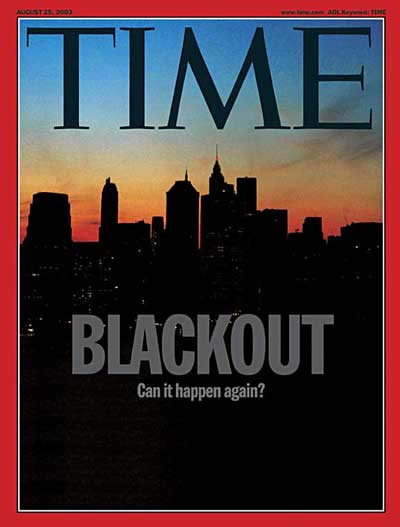 Silhouetted skyline of New York during the blackout of 2003.