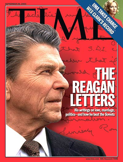 The Reagan Letters'  Ronald Reagan, from Corbis Sygma. Inset: Uma Thurman by Mathias Clamer.