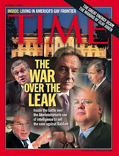 TIME Magazine Cover: The War Over the Leak -- Oct. 13, 2003