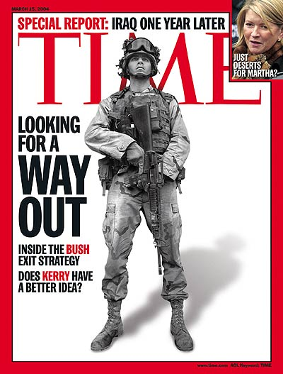 Special Report: Iraq One Year Later; Looking for a Way Out.' Photo of Specialist Cody Hoefer in Tikrit, Iraq on Feb. 23, 2004.  Inset:  Martha Stewart by Julie Jacobson-AP.