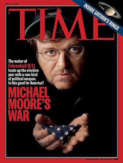 Documentary filmmaker Michael Moore.  Inset: Saturn by NASA/JPL/Space Science Institute.