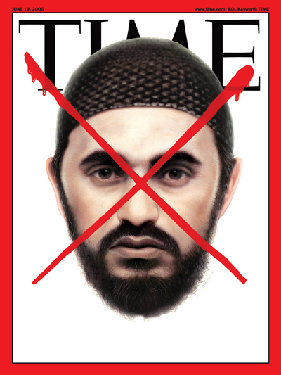 A picture of Abu Mousab al-Zarqawi, crossed out by a red X