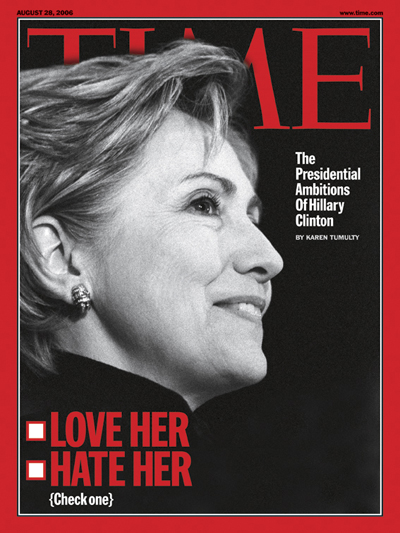 Black and white profile of Hillary Clinton