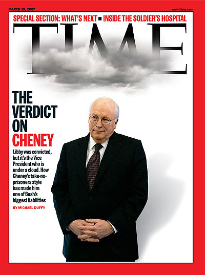Vice President Dick Cheney standing under a grey cloud