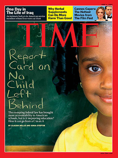 time magazine cover report card on no child left behind